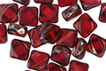Czech Glass Garnet Diamond Tile 6mm