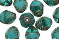 Czech Glass Milky Teal Picasso Etched Bicone 10x8mm