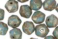 Czech Glass Blue Turquoise Picasso English Cut Bead 6x8mm