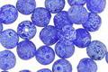 Czech Glass Etched Cobalt w/ Blue Round Druk 6mm