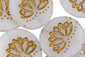Czech Glass Matte Bronzed White Lotus Coin 18mm