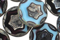 Czech Glass Sky Blue & Purple Bronzed Picasso Star in Coin 17mm