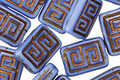 Czech Glass Periwinkle w/ Copper Tribal Rectangle 13x9mm