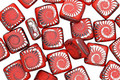 Czech Glass Laser Etched Ammonite on Red Coral Opaque w/ Silver Finish 2-Hole Tile 6mm
