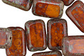 Czech Glass Amber Picasso Rectangle 12x8mm