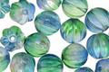 Czech Glass Coated Deep Sea Blue Melon Round 8mm