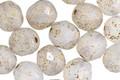 Czech Fire Polished Glass Matte Textured White Opal w/ Gold Flecks Round 8mm