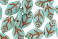 Czech Glass Aqua Leaf Drop 8x12mm