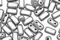 CzechMates Glass Silver 2-Hole Brick 3x6mm