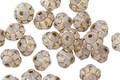 Czech Glass White Opaline w/ Gold Bali Style 6mm