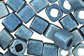 TOHO Higher Metallic Frosted Mediterranean Blue Cube 4mm Seed Bead