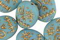 Czech Glass Matte Turquoise w/ Gold Wash Sugar Skull 16x13mm