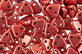 CzechMates Glass ColorTrends: Sueded Gold Samba Red 2-Hole Triangle 6mm