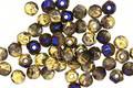 Czech Glass Black Diamond w/ Gold & Metallic Blue English Cut Round 3mm