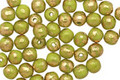 Czech Glass Olivine w/ Gold Marble Round Druk 4mm
