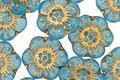 Czech Glass Aqua w/ Gold Wild Rose Coin 13mm