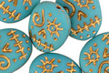 Czech Glass Matte Turquoise w/ Gold Wash Sugar Skull 16x13mm