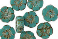 Czech Glass Persian Turquoise Picasso Hibiscus Coin 9mm