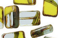 Czech Glass Chartreuse Quartz Rectangle 12x8mm