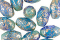Czech Glass Caribbean Waters w/ Gold Flecks Faceted Rice 12x8mm