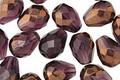Czech Glass Amethyst w/ Bronze Faceted Teardrop 9x7mm