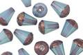 Czech Glass Blue Opal Drop w/ Bronzed Bottom 8x6mm