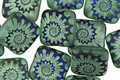 Czech Glass Laser Etched Ammonite on Matte Sea Green w/ Iris Blue Finish Puff Square 10mm