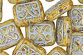Czech Glass Pistachio Picasso w/ Powder Blue Ornamental Rectangle 11x12mm