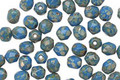 Czech Glass Cottage Blue Light Picasso Fire Polished Round 4mm