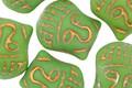 Czech Glass Matte Leaf Green w/ Gold Wash Buddha Head 16x14mm