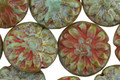 Czech Glass Sage Green Picasso Dahlia Coin 14mm