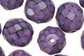 Czech Fire Polished Glass Purple Round Snake Beads 12mm