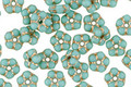 Czech Glass Turquoise w/ Gold Bali Style Daisy Spacer 2x5mm