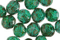 Czech Fire Polished Glass Emerald Picasso Round 8mm