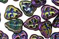Czech Glass Iris Purple Leaves 11x9mm