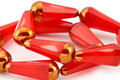 Czech Glass Red Pepper w/ Gold Faceted Teardrop 20x8mm