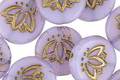 Czech Glass Bronzed Lilac Lotus Coin 14mm