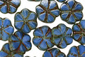 Czech Glass Blueberry 6 Petal Daisy 9mm