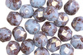 Czech Glass Icy Blue w/ Bronze Luster Fire Polished Round 6mm