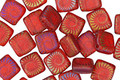 Czech Glass Laser Etched Ammonite on Transparent Matte Ruby Red w/ Rainbow Finish 2-Hole Tile 6mm