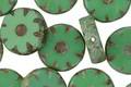 Czech Glass Grass Green Picasso Flower Window Coin 12mm