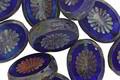 Czech Glass Denim Dreams Picasso Oval w/ Star Window 14x10mm