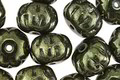 Czech Glass Metallic Moss Green Cruller 8x11mm