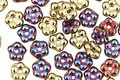 Czech Glass Iris Purple w/ Gold Bali Style Daisy Spacer 2x5mm