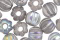Czech Glass Crystal AB w/ Silver Wash Large Hole Melon Round 8mm
