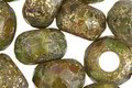Czech Glass Matte Textured Peridot Picasso w/ Gold Large Hole Fire Polished Rondelle 8x12mm