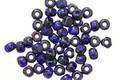 Czech Glass Indigo Picasso Trica Beads 3x4mm