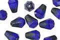 Czech Glass Cobalt w/Picasso Top Faceted Drop 8x6mm