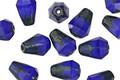 Czech Glass Cobalt w/Picasso Top Faceted Drop 8x6mm