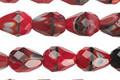 Czech Glass Burning Coals Faceted Teardrop 9x7mm